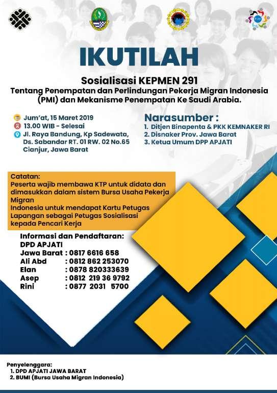 Cegah Penyaluran Tenaga Kerja Secara Ilegal DPD -GARDA BMI Cianjur, Gelar Sosialisasi Kepmen Nomor 2