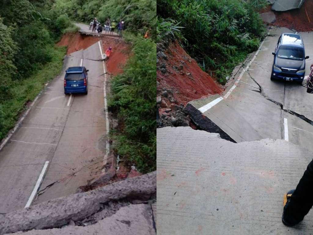 Kendaraan Terjebak Diantara Jalan Amblas di Cianjur Selatan